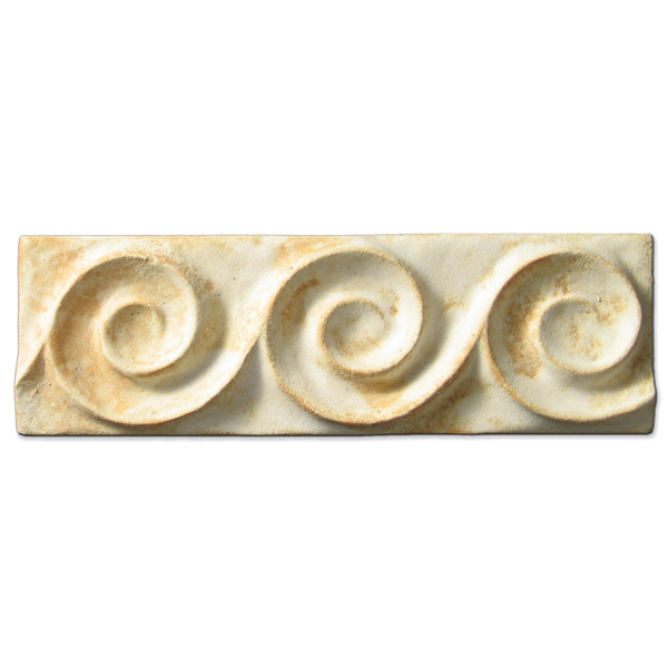 Spiral Wave Border 2x6 inch Primal White