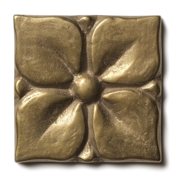 "Blooming Leaf 2.5x2.5"" accent tile Traditional Bronze"