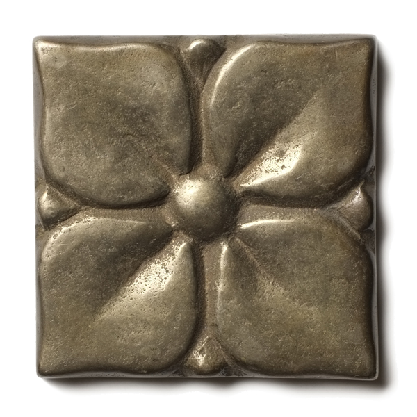 "Blooming Leaf 2.5x2.5"" accent tile White Bronze"