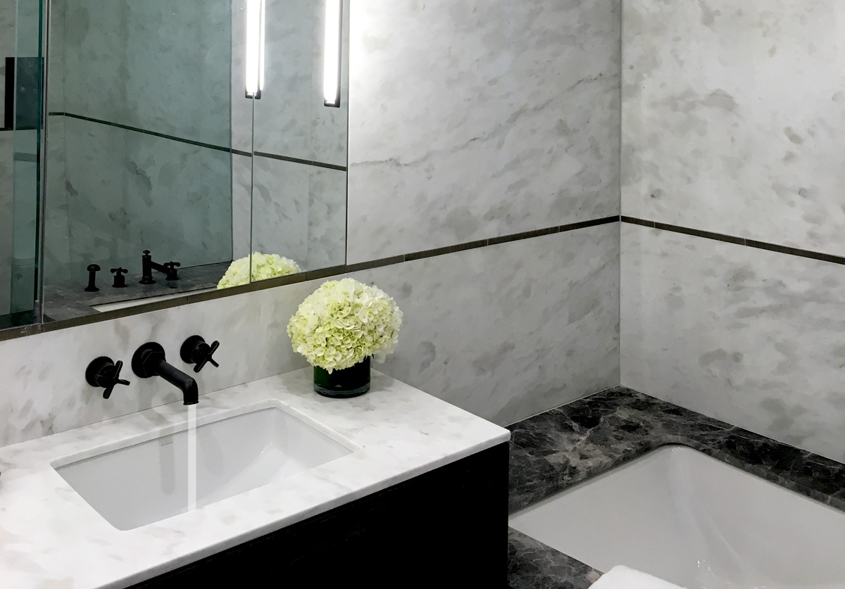 Precision Square Matte Black with white and gray marble