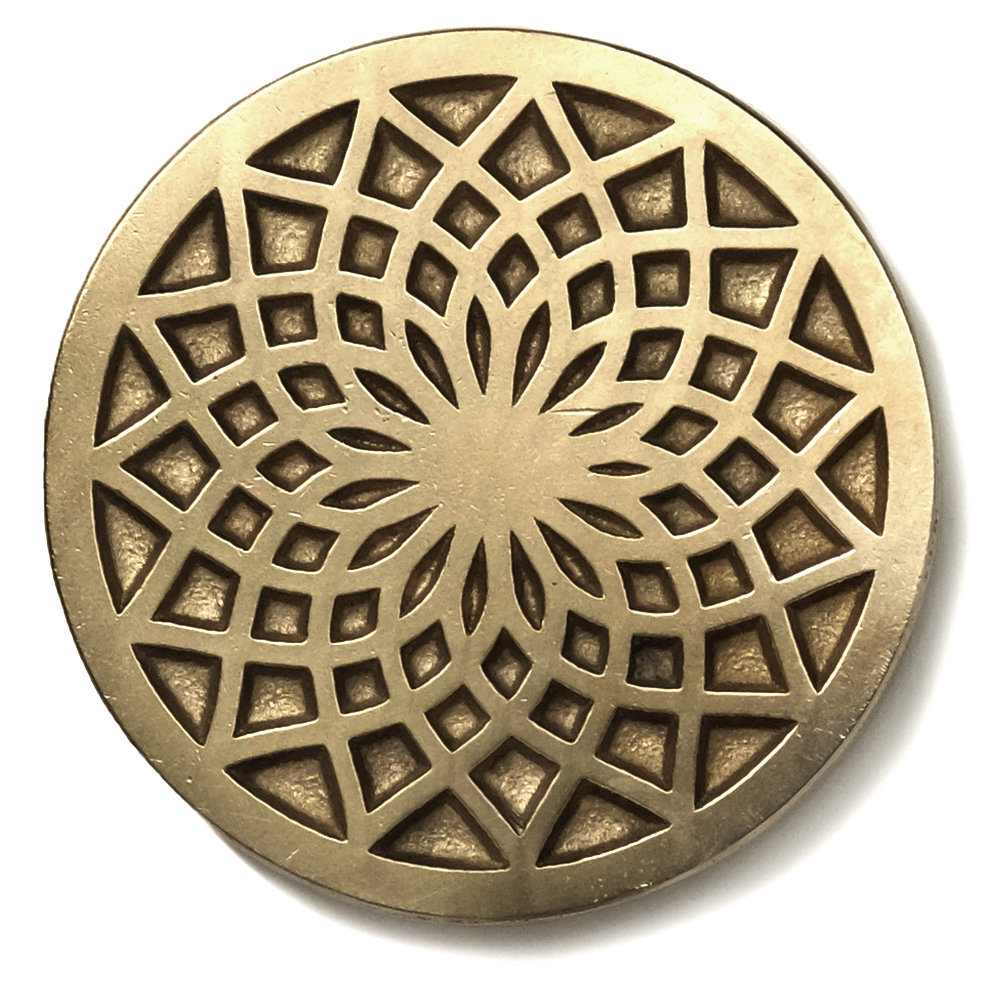 Dahlia  2.5 inch inset tile Traditional Bronze