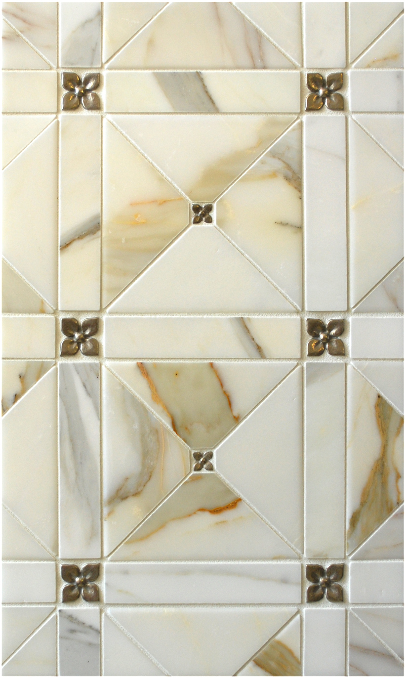 Metal accent tiles: Two sizes of Blooming Leaf in Traditional Bronze with marble