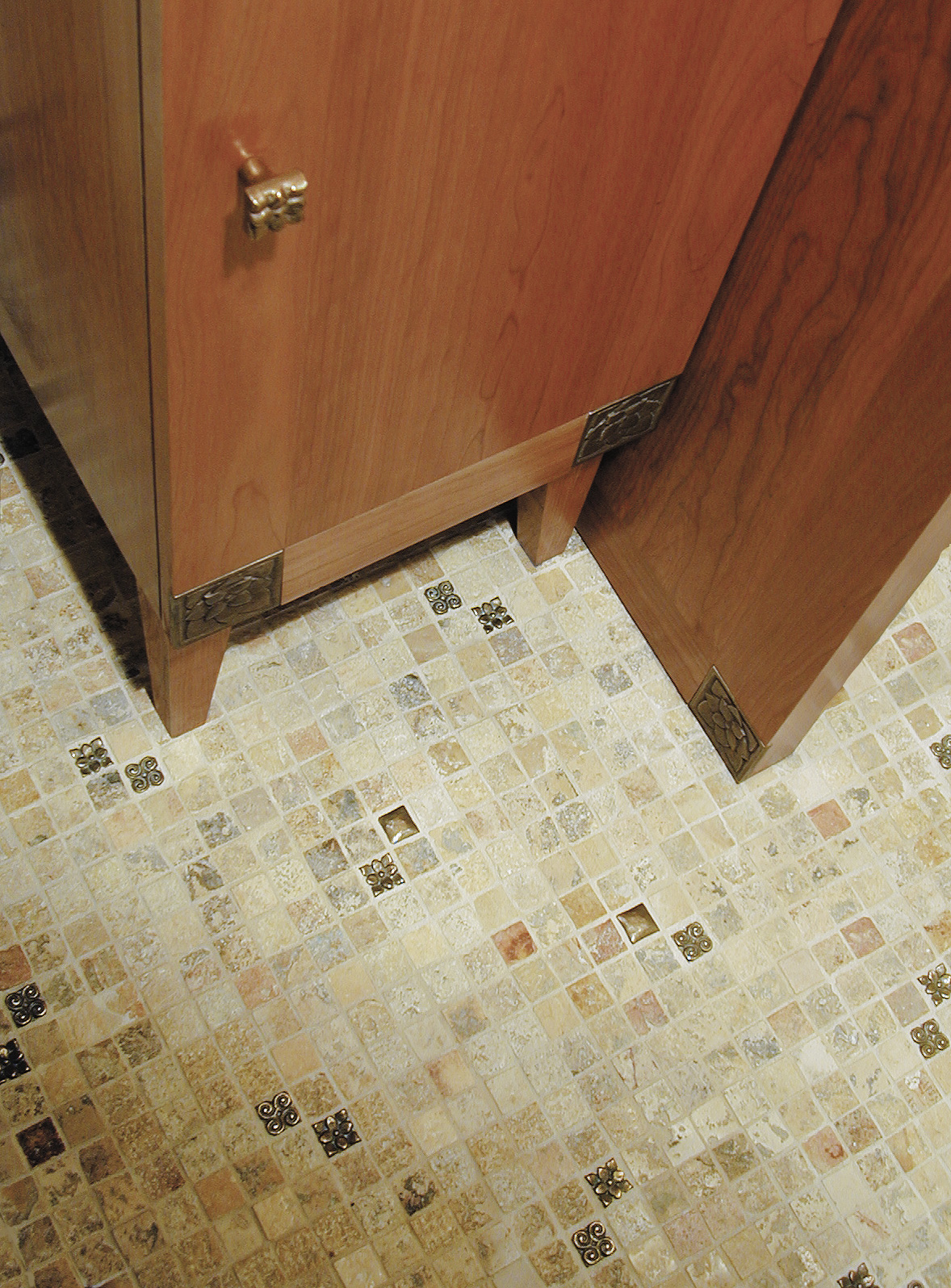 Various 1x1 inch tiles in Traditional Bronze with Jerusalem Stone mosaic
