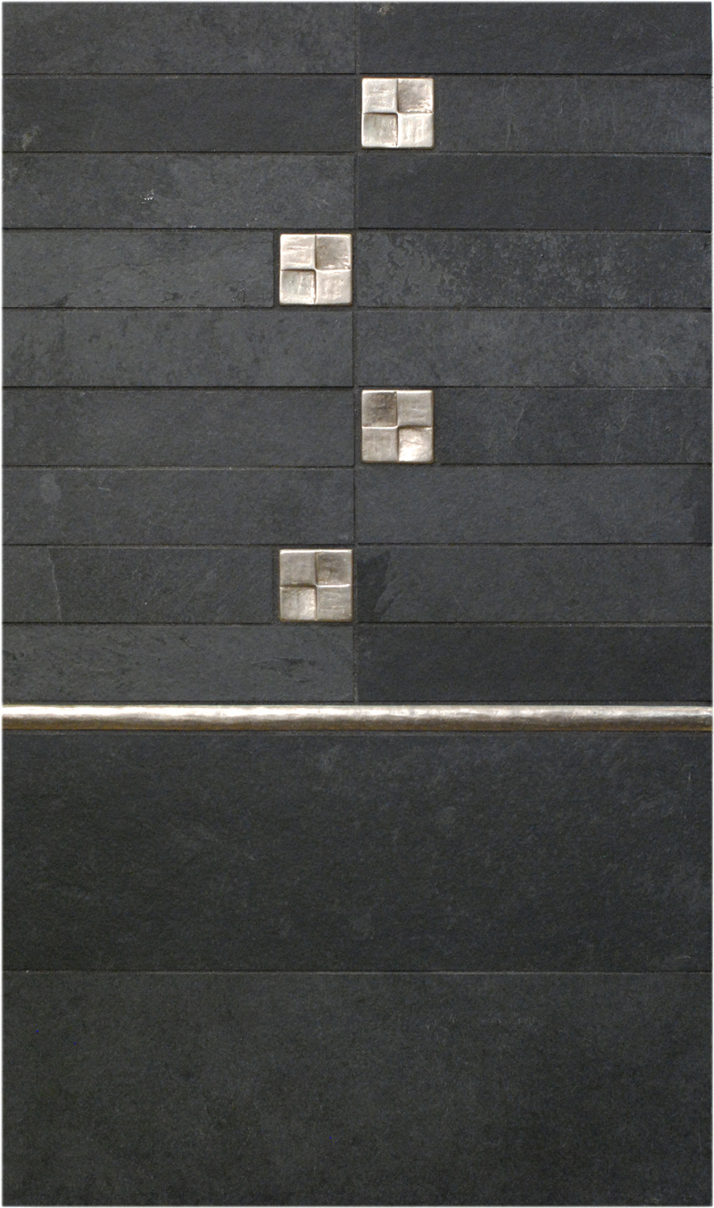 Metal accent tiles and liners: Terrace and Basic Liner in Traditional Bronze with black stone