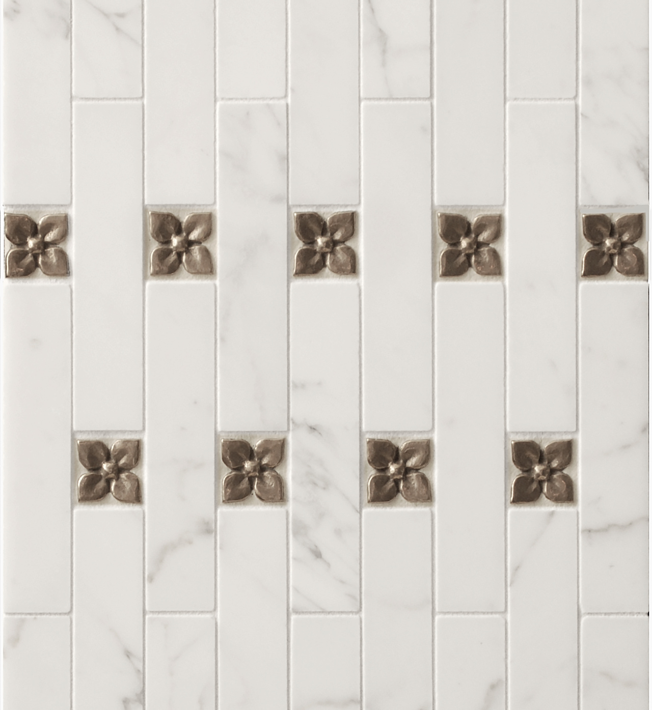 Metal accent tiles: Blooming Leaf in Traditional Bronze with white marble