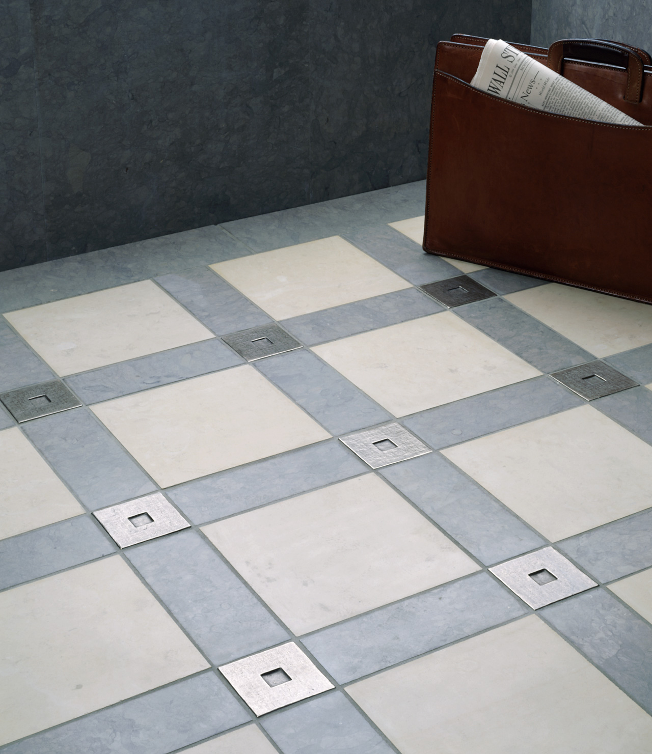 Square 3x3 inch in White Bronze with blue and gray limestone